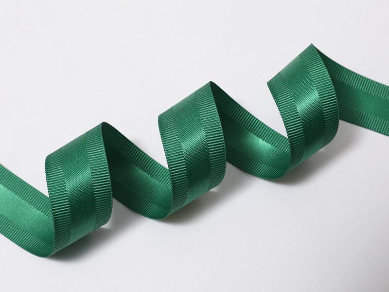 Cinta mixta de doble cara con borde de poliéster satinado-galgo en verde