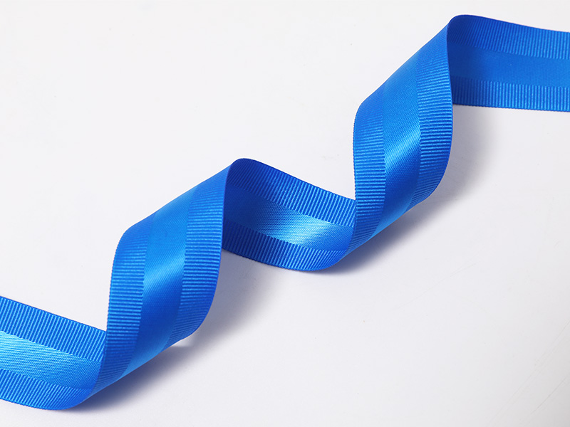 Cinta mixta de doble cara con borde de poliéster satinado-galgo en azul